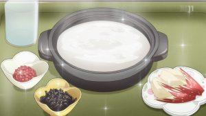 おかゆを食べるシーンがあるアニメを教えてください